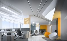 Office design concept on Behance Office Fit Out, Home Office Setup, Open Office, Office Workspace, Corporate Interior Design, Corporate Interiors, Office Interiors, Office Design Concepts, Workplace Design