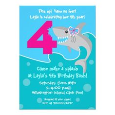 Girl Shark Bite Invite 4th Birthday Party Card 23rd 9th Parties