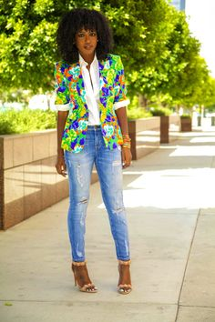 Style Pantry | My Style | Floral Blazer + Button-Up + Distressed Stiletto Jeans
