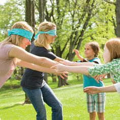 Family Event game: Mom (or Dad) Calling. Kids line up on one side and parents on the other. Parents try to find their child by their voice. (this is too funny, we should do this at one of the family get togethers) Games 4 Kids, Fun Games, Activities For Kids, Family Reunion Games, Family Games, Group Games, Blindfold Games, Activity Day Girls, Kids Line