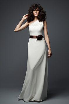 Wtoo Maids Dress 781   Watters.com dark blue dress, ivory belt, coral flower