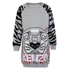 8cc469baa6dc7 Kenzo Kids Girls Grey Tiger Sweatshirt Dress Grey Sweater Dress, Sweatshirt  Dress, Jumper,