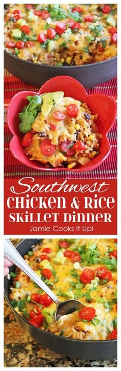 Southwest Chicken and Rice Skillet Dinner Jamie Cooks It Up! You can make this fantastic dinner in just over 30 minutes.