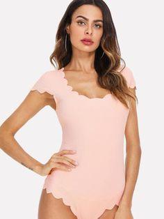 Shop Scallop Trim Solid Bodysuit online. SheIn offers Scallop Trim Solid Bodysuit & more to fit your fashionable needs.