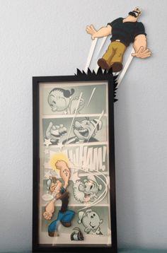 """Popeye Art Show, """"Strong to the Finich! Geek Decor, Shadow Box Art, Geek Art, Oeuvre D'art, Comic Art, Paper Art, Geek Stuff, Arts And Crafts, Artsy"""
