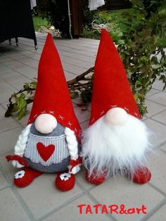"I wanted to share our collection of Christmas gnomes. They are called Nisse (Norwegian) or Tomte (Swedish). Tomte literally means ""Homestead Man"" so I thought Christmas Sewing, Christmas Gnome, Christmas Projects, Felt Crafts, Holiday Crafts, Diy Crafts, Xmas Ornaments, Christmas Decorations, Theme Noel"