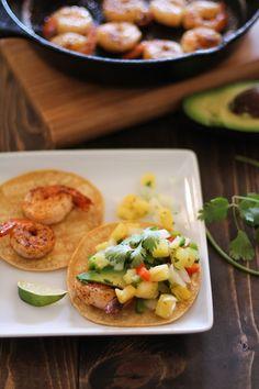 Shrimp and Avocado Tacos with Pineapple Salsa