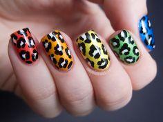 Chalkboard Nails: Rainbow Leopard Skittles