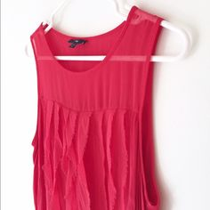 lipstick chiffon tank. the cutest deep lipstick tank from GAP with chiffon flowy ruffles on the chest and chiffon sheer shoulders and upper chest.  super soft fabric used for the rest of the body.  great condition and wore only several times.  upper body and decorative trim 100% polyester, shell 100% rayon.  size m. GAP Tops Tank Tops