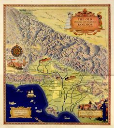 Color map of the Spanish and Mexican ranchos of Los Angeles County. The legend includes the scale of English miles, Spanish leagues and Spanish varas, 1937. Multicultural Music and Art Foundation of Northridge. San Fernando Valley History Digital Library.