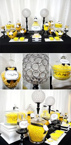 Posh Yellow & Black Candy Station