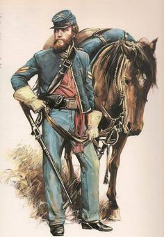 Union Cavalry, (unknown artist). Help eliminate poor pinning! If you know the artist and can supply a link, please update this pin. Thank you!
