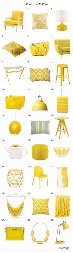 pantone primrose yellow, interior design product roundup, bright yellow, 2017 color trends