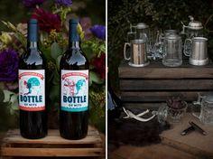 rustic tablescape bar, princess bride inconceivable wine, maybe have Larry brew some princess bride beer?