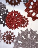 Tinsel Snowflakes DIY Christmas Projects   Martha Stewart Living - Echo this holiday luster at home with decorations bedecked with tinsel and glitter.
