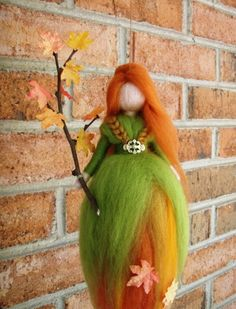AUTUMN LEAVES FAIRY Needle Felted Wool Doll Angel Faeries Soft Sculpture Waldorf Inspired. $26.00, via Etsy.