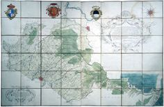 """ANDREA CHIESA (e GIAMBATTISTA MIGLIARI)  """"Carta topografica di tutta la pianura del bolognese cavata dalla carta da me Andrea Chiesa stampata dell'anno 1742, e in parte del ferrarese, e del ravegnano, desunta, rispetto alle valli di Marmorta, e di Argenta, dalla mappa giudicialmente fatta del 1739, e rispetto al restante, da dette valli fino al mare, dedotta dalla nuova carta fatta l'anno scorso 1761 (...) Cento, questo di' primo aprile 1762"""""""