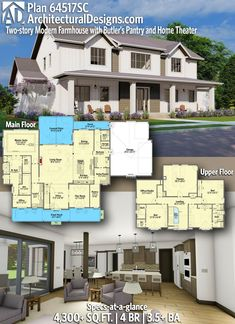 House Plan 64517SC gives you 4,300+ square feet of living space with 4 bedrooms and 3.5+ baths. AD House Plan #64517SC #adhouseplans #architecturaldesigns #houseplans #homeplans #floorplans #homeplan #floorplan #houseplan Farmhouse Homes, Farmhouse Plans, Modern Farmhouse, Farmhouse Style, Built In Lockers, Rocking Chair Porch, Flex Room, Beautiful Home Designs, Roof Plan