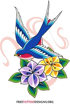 The swallow, as well as bluebirds and sparrows, has always had a symbolic meaning for sailors because these birds were usually the first sign that land was near (before modern navigation technology). A swallow tattoo for a sailor reflected his hope of coming home safely.