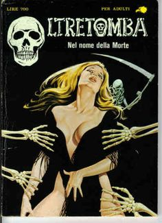 Italian horror comic pulp cover, maiden death grim reaper Father Time scythe maid girl woman dance danse macabre skull skeleton