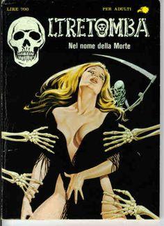 Italian horror comic pulp cover, maiden death grim reaper Father Time scythe maid girl woman dance danse macabre skull skeleton