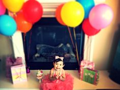 Aubri's 1st Birthday Picture for her invites =) Balloon color is for each Winnie the Pooh character!