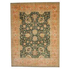 Herat Oriental Indo Hand-knotted Vegetable Dye Oushak Wool Rug (9' x 11'10) (Herat Oriental Vegetable Dye Oushak Area Rug), Green (Natural Fiber, Floral)