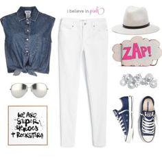 camisa ganga + calça branca + vans, all star...