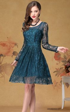 Vintage Beauty Lace Party Prom Dress Knee Length