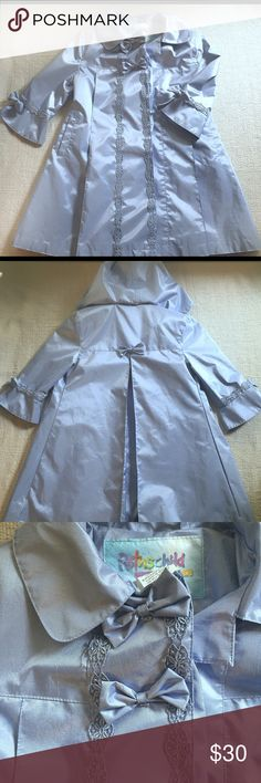 Vintage princess taffeta rain coat Omg I would keep this FOREVER on display but it's one of those awesome pieces that needs to be passed on so the joy of it can flourish 😍😍 this is a dusty light blue taffeta dream and so fancy, classy and sweet! It has a removable hood, button front, full A line shape and the details are to die for. The last picture is it in action on my blue eyed babe and it's simply majestic 🌈🦄🌈🦄🌈🦄 rothschild Jackets & Coats Raincoats