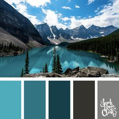 Teal and gray color palette - I love this vibrant color scheme! | Click for more color combinations inspired by beautiful landscapes and other coloring inspiration at http://sarahrenaeclark.com | Colour palettes, colour schemes, color therapy, mood board, color hue