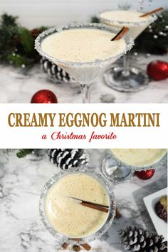 Creamy Eggnog Martini Celebrate the holidays with this creamy, decadently rich Eggnog Martini. Just 3 ingredients & a few pinches of spice will create the perfect cocktail for the Christmas season. Christmas Cocktails, Holiday Drinks, Fun Drinks, Yummy Drinks, Holiday Recipes, Christmas Parties, Christmas Treats, Holiday Dinner, Christmas Recipes