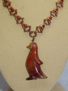 Natural Ribbon Jasper Carved Penguin Pendant & hand-made Copper Chain Maille  | eBay