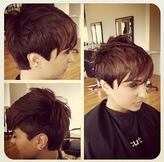 Cute, Easy Layered Pixie Hairstyle: One Side Shaved Haircut for Short Hair