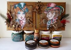 Steampunk canvasses using DecoArt products.