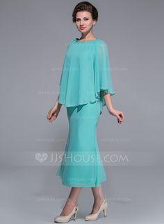 cdf98a411ae93 A-Line Princess Scoop Neck Tea-Length Chiffon Mother of the Bride Dress  (008025759)