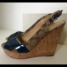NWOT Authentic Coach sandals I'm selling these for a friend. They are NWOT Coach wedge sandals, and have never been worn. Purchased from Nordstrom awhile ago but never worn. Super cute navy blue patent leather detail with Coach logo! These will look cute with several other pieces in my closet!! Coach Shoes Wedges