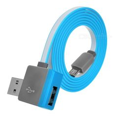 Micro USB to USB 2.0 Male & Female Flat Charging & Data Sync Cable for Samsung / HTC & More - Blue