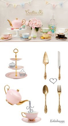 Cristina Re // High Tea Collection 24 carat gold plated tea set, cutlery and serving ware. Kaleidoscope Blog