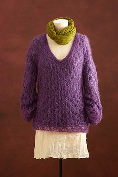 Ravelry: Oversized Lace V-Neck pattern by Lion Brand Yarn Sweater Knitting Patterns, Crochet Cardigan, Knit Or Crochet, Crochet Scarves, Lace Knitting, Crochet Clothes, Free Crochet, Crochet Sweaters, Lace Sweater