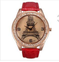 Red Eiffel tower watch