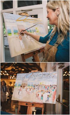 Live painter at the wedding reception, unique memento // Jennings King Photography