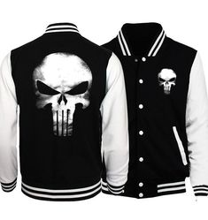 """HOT PRICES FROM ALI - Buy """"the punisher anime skull print mens baseball jacket 2017 spring casual streetwear funny hoodies tracking hip hop sweatshirt"""" for only USD. Batman 2, Superman, Hoodie Sweatshirts, Camisa Baseball, Moda Geek, Plus Size Men, Men With Street Style, Jacket Style, Casual Tops"""