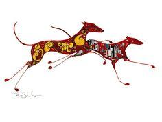 greyhound+art | greyhound art sketch