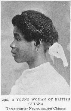A young woman of British Guiana; Three-quarter Negro, quarter Chinese.