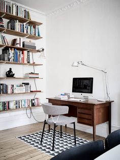 Mid-century desk and shelves