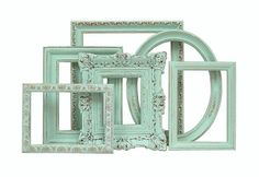 MEGAN!!!!!! You could do this in whatever color you do your vases...   Shabby Chic Frames - Mint Green