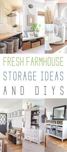 Fresh Farmhouse Storage Ideas and DIYS!  Get organized in Farmhouse Style for the New Year!