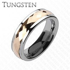 Rose Gold Tungsten Spinner - Feel Elegant While Looking Classy Silver and Rose Gold Tungsten Carbide Comfort-Fit Spinner Ring. #BuyBlueSteel #Jewelry