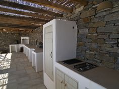 Fully built-in refrigerator to match the traditional style of the islands. Paros, Greece